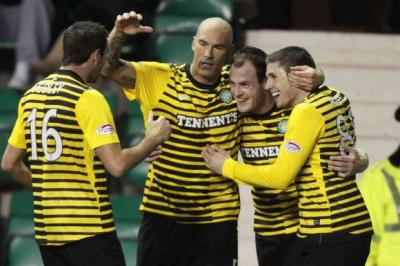 Joe Ledley, Daniel Majstorovic and Gary Hooper congratulate Stokes after he scored Celtic's third goal against Hibernian. Picture: David Moir/Reuters