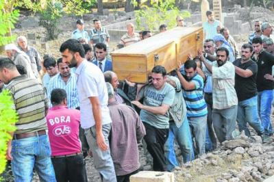 HUMAN COST: Relatives carry the coffin of a victim who was killed by a mortar strike which caused Turkey to retaliate against Syria. Picture: Reuters