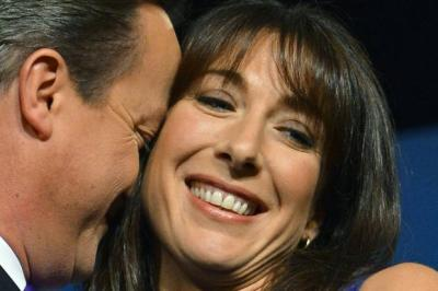 EMBRACE: David Cameron with his wife Samantha after his keynote speech to the Conservative Party conference in Birmingham. Picture: Reuters