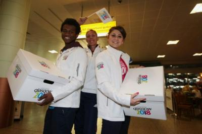 SUPPORT: Lee McConnell, centre, with YOG ambassadors Mahad Ahmed and Jasmine Main.