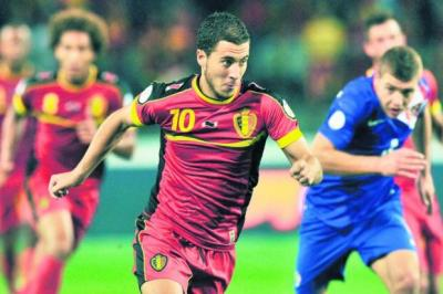 Eden Hazard is one of several Belgian players performing at the very highest level of club football				      Photograph: John Thys/AFP