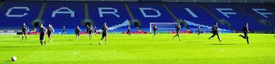 Scotland trained yesterday at Cardiff City's stadium ahead of tomorrow's World Cup qualifier in Belgium. Picture: SNS