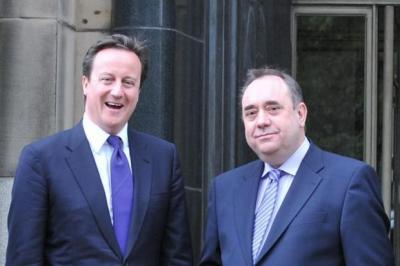 LEADERS: Cameron and Salmond will meet to sign the deal today.
