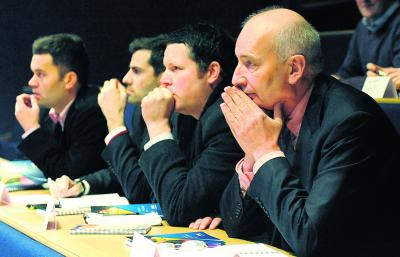 Hugh MacDonald cedes to demands to keep quiet at another press conference. Picture: James Galloway