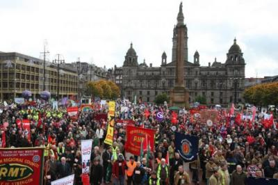 The rally at George Square in Glasgow