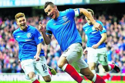 Lee McCulloch celebrates scoring against Queen's Park  Photograph: SNS