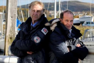 RESPECT: Sir Ranulph Fiennes, above left with Falcon Scott, whose grandfather,  left centre, led the 1912 team that also included Scotsman Henry 'Birdie' Bowers, far left.  Main picture: James Galloway