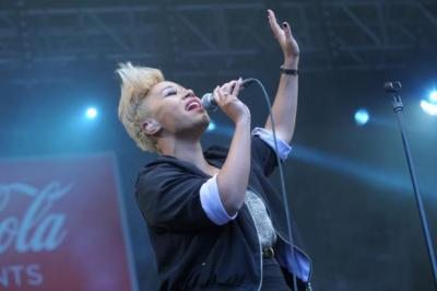 WINNING: Emeli Sande at the Olympic torch ceremony in Glasgow, and above at awards. Django Django also won a prize. muse: Band won best act in the world award.