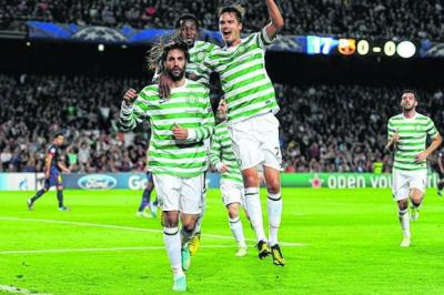 Celtic celebrate Georgios Samaras's Camp Nou opener   Photograph: Getty