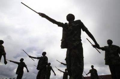 offensive: Recruits of the newly formed Congolese Revolutionary Army march during military training in Rumangabo military camp. Picture: Reuters