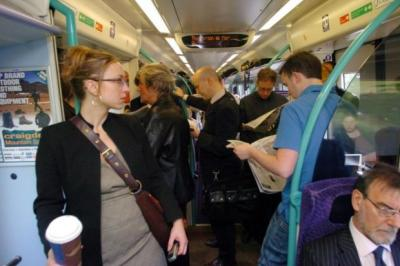 CRAMPED: Commuters on the ScotRail Edinburgh-Glasgow service have struggled to find a seat on the route during morning and evening rush hours. Picture: Nick Ponty