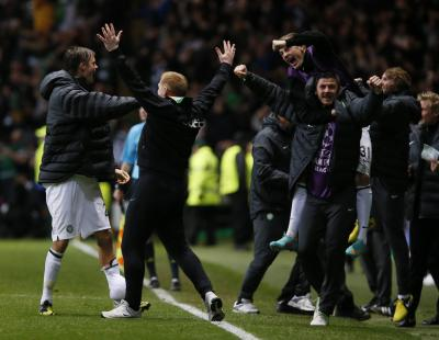 Neil Lennon reacts after Tony Watt scores Celtic's second goal