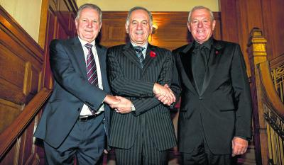 Charles Green, centre, welcomes Ian Hart and Walter Smith on to the Ibrox board yesterday. Picture: Kirk O'Rourke