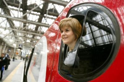 ALL ABOARD. Nicola Sturgeon said the new route would benefit business and tourism. Picture: Mark Mainz
