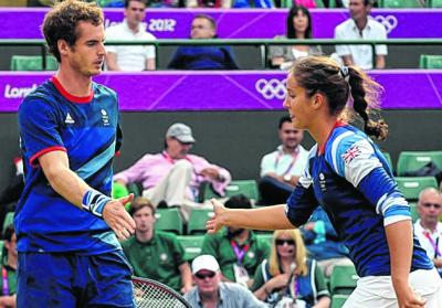 Laura Robson was chosen over Heather Watson by Andy Murray to partner him in the mixed doubles event at the London Olympics. Picture: EPA