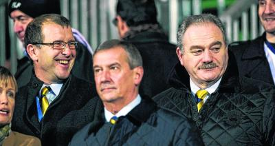 Stewart Regan, left, Campbell Ogilvie and Rod Petrie will all be tasked with appointing the next Scotland manager