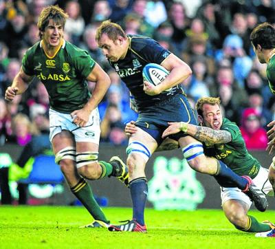 Al Kellock asks questions of the South Africa defence.