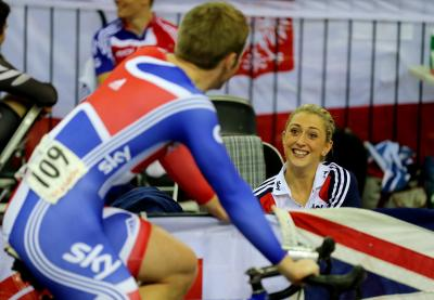 Laura Trott chats with Jason Kenny during a break in the action yesterday. Picture: PA