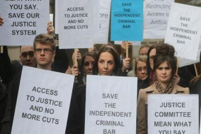 FIGHTBACK: Lawyers protested outside after walking out of Edinburgh Sheriff Court. Picture: Gordon Terris