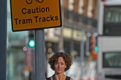 RISKY: Tram tracks caused cyclist Sara Reed's accident. Pictures: Gordon Terris