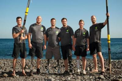 HEROIC: (left to right) Alex Mackenzie, Rory Mackenzie, Neil Heritage, Will Dixon, Carl Anstey and Ed Janvrin reached Barbados in January.