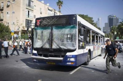 TENSIONS: A bus bomb explosion yesterday in central Tel Aviv that injured 15 Israelis had threatened to derail ceasefire talks. Picture: Getty Images