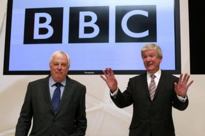 NEW VISION: Tony Hall, above right, with trust chairman Lord Patten, above left, is taking over a battered BBC damaged by the Savile scandal and a Newsnight blunder that led to George Entwistle, far left, resigning. Main picture: Getty