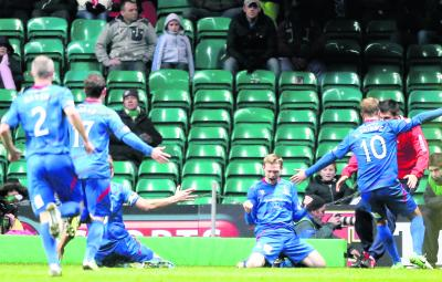 Billy McKay celebrates scoring for Inverness Caledonian Thistle against Celtic. Picture: PA