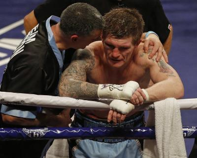 Ricky Hatton feels the pain of defeat on Saturday. Picture: Getty Images