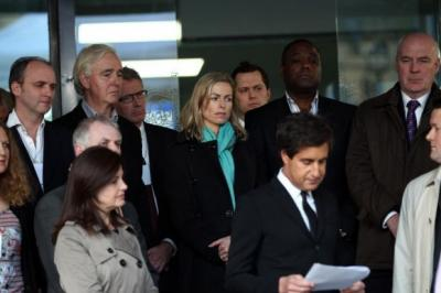 RESPONSE: Kate McCann, centre, and other members of the Hacked Off group look on as a spokesman reads a statement following Lord Levenson's announcement. Picture: PA