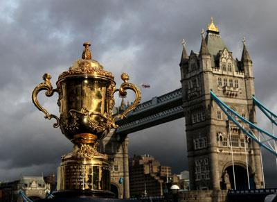 The Webb Ellis Cup sits in front of Tower Bridge during a photocall to launch the Rugby World Cup draw