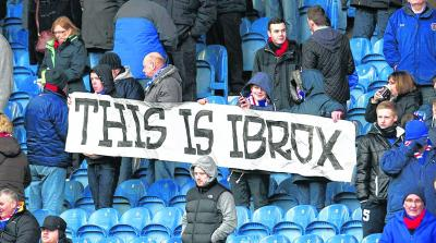 Rangers fans show their preference for the stadium's name as their team take on Elgin. Picture: Jeff Holmes/SNS