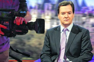 MAKING PROGRESS: Chancellor George Osborne was in a serious mood as he prepared for yesterday's Andrew Marr Show. Picture: BBC