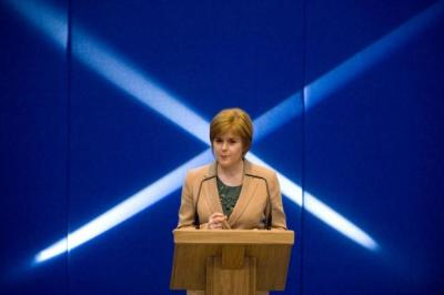 POSITIVE POWER: Nicola Sturgeon was trying to woo non-SNP voters to the cause of independence in her speech at the Barony Hall in Glasgow. Picture: Nick Ponty
