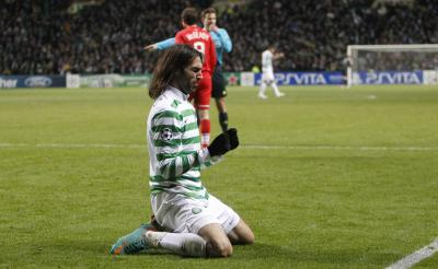 Georgios Samaras reacts as the German referee points to the spot. Picture: Mark Gibson