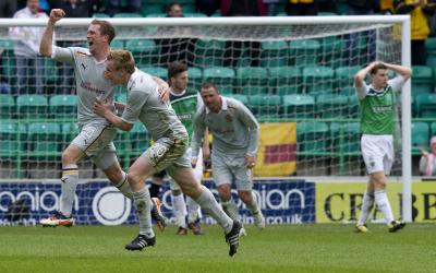 Nicky Law celebrates  his stunning equaliser at Easter Road. Picture: PA