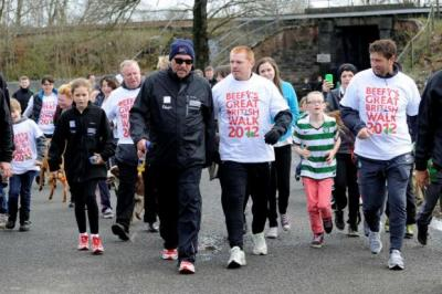 walk this way: Sir Ian Botham was joined by Celtic manager Neil Lennon on the first leg of his charity walk across Britain in support of blood cancer research. Picture: James Galloway