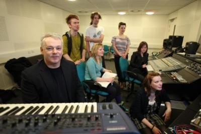 ON A HIGH: Musician David Scott, the joint programme leader and lecturer in commercial music at the university's Ayr Campus, with some of the course's students.