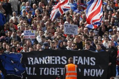 Ibrox supporters on the march
