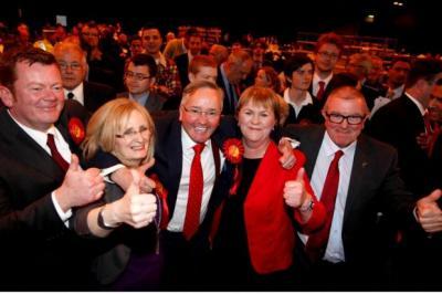 THUMBS UP: Glasgow Council leader Gordon Matheson celebrates with Margaret Curran MP, left, and Labour's Scottish leader Johann Lamont. Picture Martin Shields