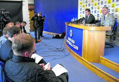 Charles Green, right, addresses the media yesterday at Murray Park. Picture: SNS