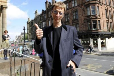 STAR VISIT: Robin Gibb arrives at Paisley Museum during the filming of Who Do You Think You Are? in 2011. Picture: James Galloway