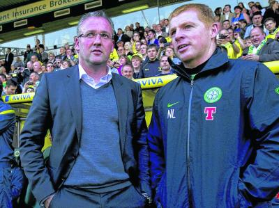 Paul Lambert and Neil Lennon at the Adam Drury testimonial match last month at Carrow Road. Picture: SNS