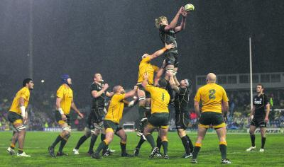 Richie Gray claims a line out amid the difficult conditions