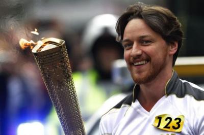 LEADING LIGHT: Actor James McAvoy takes the iconic flame to Glasgow.