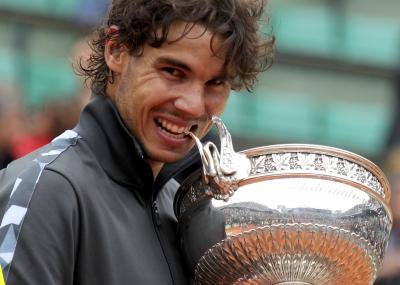 Rafael Nadal celebrates his seventh French Open title