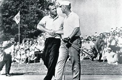 Arnold Palmer, left, congratulates  Jack Nicklaus after his 1962 US Open win. Picture: USGA archive