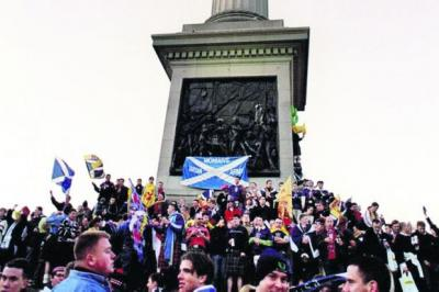 The Tartan Army take over Trafalgar Square in 1999  Photograph: Empics