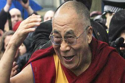 SUPPORT: The Dalai Lama was greeted by crowds.