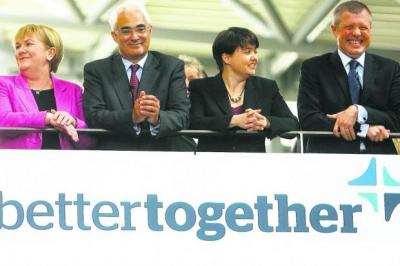 united front: From left, Johann Lamont, Alistair Darling, Ruth Davidson and Willie Rennie at the Better Together campaign launch in Edinburgh yesterday. Picture: Gordon Terris